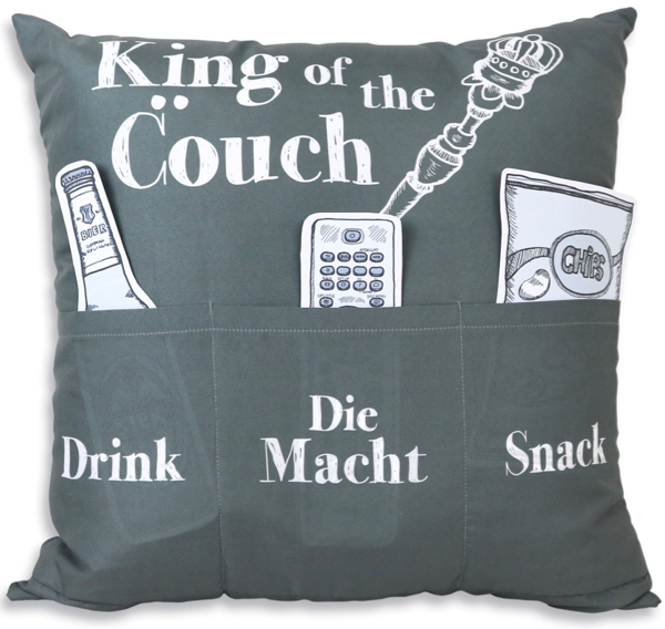 kissen mit spruch king of the couch. Black Bedroom Furniture Sets. Home Design Ideas